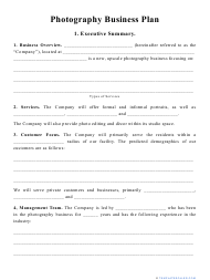 """""""Photography Business Plan Template"""""""