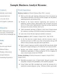 "Sample ""Business Analyst Resume"""