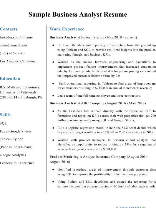 """Sample """"Business Analyst Resume"""" Download Pdf"""