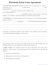 """""""Farm Lease Agreement Template"""" - Wisconsin"""