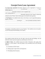 """""""Farm Lease Agreement Template"""" - Georgia (United States)"""