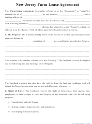 """""""Farm Lease Agreement Template"""" - New Jersey"""
