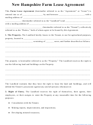 """""""Farm Lease Agreement Template"""" - New Hampshire"""