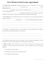 """""""Farm Lease Agreement Template"""" - New Mexico"""