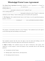 """""""Farm Lease Agreement Template"""" - Mississippi"""