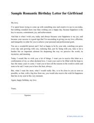 """Sample """"Romantic Birthday Letter for Girlfriend"""""""
