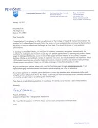 """Penn State Acceptance Letter"""