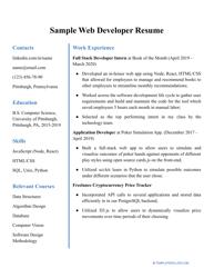 "Sample ""Web Developer Resume"""