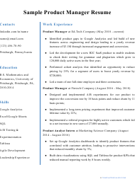 """Sample """"Product Manager Resume"""""""