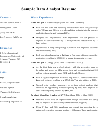 "Sample ""Data Analyst Resume"""