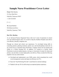 """Sample """"Nurse Practitioner Cover Letter"""""""