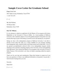 "Sample ""Cover Letter for Graduate School"""