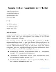 """Sample """"Medical Receptionist Cover Letter"""""""