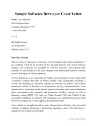 "Sample ""Software Developer Cover Letter"""