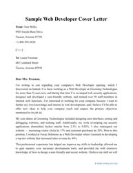 """Sample """"Web Developer Cover Letter"""""""