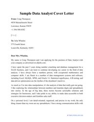"""Sample """"Data Analyst Cover Letter"""""""