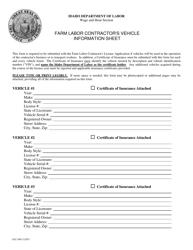 "Form FLC-005 ""Farm Labor Contractor's Vehicle Information Sheet"" - Idaho"