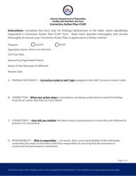 """Corrective Action Plan (CAP)"" - Arizona"