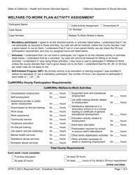 "Form WTW2 ""Welfare-To-Work Plan Activity Assignment"" - California"
