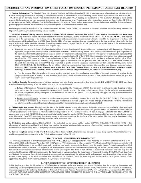 Form SF-180  Printable Pdf