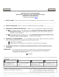 """Form C013 """"Certificate Concerning Restated Articles of Incorporation Nonprofit Corporation"""" - Arizona"""