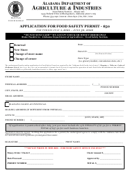 """""""Application for Food Safety Permit"""" - Alabama, 2022"""