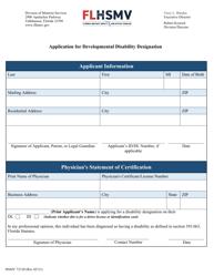 "Form HSMV72120 ""Application for Developmental Disability Designation"" - Florida"