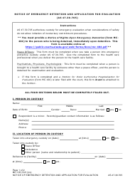 """Form MC-105 """"Notice of Emergency Detention and Application for Evaluation"""" - Alaska"""