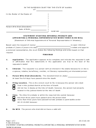 """Form P-326 """"Statement Starting Informal Probate and Appointing a Personal Representative When There Is No Will"""" - Alaska"""