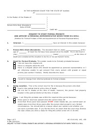 """Form P-320 """"Request to Start Formal Probate and Appoint a Personal Representative When There Is a Will"""" - Alaska"""