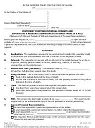 """Form P-316 """"Statement Starting Informal Probate and Appointing a Personal Representative When There Is a Will"""" - Alaska"""