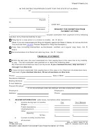 """Form TF-920 """"Request for Exemption From Payment of Fees"""" - Alaska"""