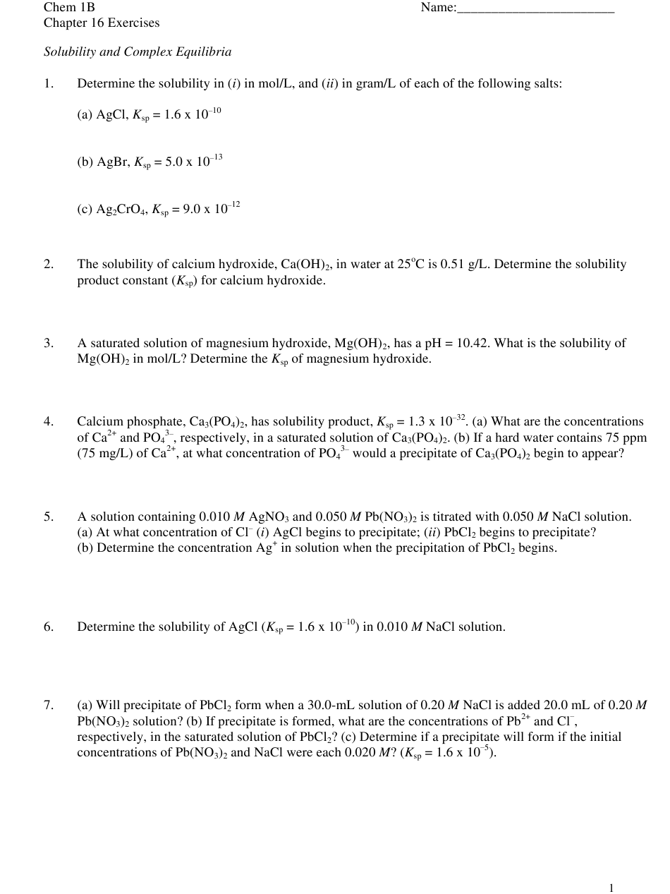 Solubility and Complex Equilibria Worksheet With Answer ...