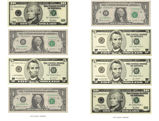 """""""One, Five and Ten Dollar Bill Templates"""" Download Pdf"""