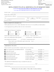 """Form D-5 """"Replacement Plate & Additional Plate Request Form"""" - Kansas"""