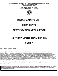 """Form DPSSP0095 Part B """"Indian Gaming Unit Corporate Certification Application Individual Personal History"""" - Louisiana"""