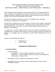 "DNR Form B-111 ""Instructions - Mechanics Lien Process - Vessels"" - Maryland"