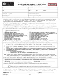 "Form BDVR-87 ""Application for Veteran License Plate"" - Michigan"