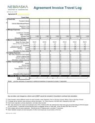 """NDOT Form 163 """"Agreement Invoice Travel Log"""" - Nebraska"""