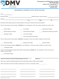 """Form OBL239 """"Business License Plate Application"""" - Nevada"""