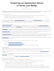 """Form 3 (PFA712) """"Application About a Family Law Matter"""" - British Columbia, Canada"""