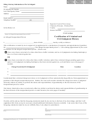 """Form 12706 """"Certification of Criminal and Civil Judgment History"""" - New Jersey"""