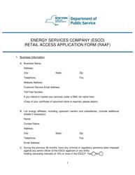 """Energy Services Company (Esco) Retail Access Application Form (Raaf)"" - New York"