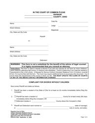 """Uniform Domestic Relations Form 6 """"Complaint for Divorce Without Children"""" - Ohio"""