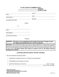 "Uniform Domestic Relations Form 8 ""Counterclaim for Divorce Without Children"" - Ohio"
