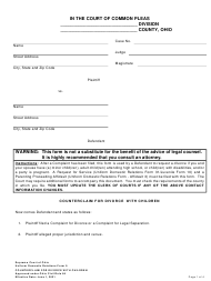"""Uniform Domestic Relations Form 9 """"Counterclaim for Divorce With Children"""" - Ohio"""