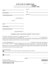 """Uniform Domestic Relations Form 16 """"Judgment Entry Converting Interest in Real Estate"""" - Ohio"""