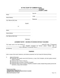 "Uniform Domestic Relations Form 14 ""Judgment Entry - Decree of Divorce Without Children"" - Ohio"