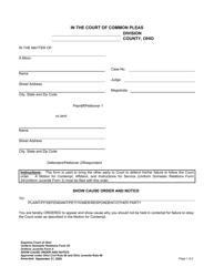 "Uniform Domestic Relations Form 25 (Uniform Juvenile Form 4) ""Show Cause Order and Notice"" - Ohio"