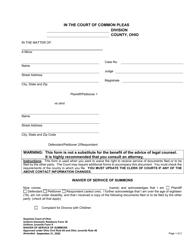 "Uniform Domestic Relations Form 30 (Uniform Juvenile Form 9) ""Waiver of Service of Summons"" - Ohio"